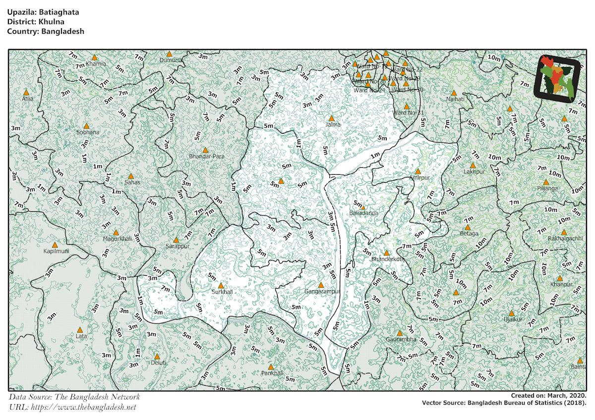 Batiaghata Upazila Elevation Map Khulna District Bangladesh