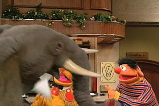 Ernie ding 15 times and 15 elephants appears. Sesame Street 123 Count with Me