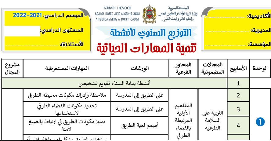 التوزيع السنوي لأنشطة تنمية المهارات الحياتية word 2021-2022