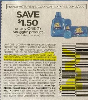 """$1.50/1-Snuggle Product Coupon from """"SAVE"""" insert week of 9/5/21.(Formerly Known as RMN)"""