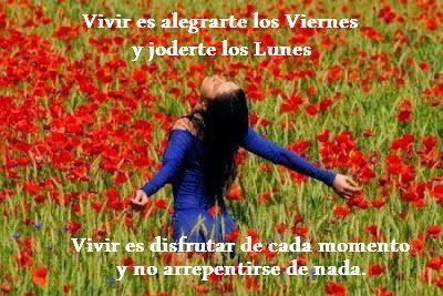 Vivir es alegrarte los viernes y joderte los lunes, Vivir es disfrutar de cada momento y no arrepentirse de nada.