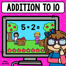 Free Addition to 10 digital math game for first grade or kindergarten! So cute and fun!