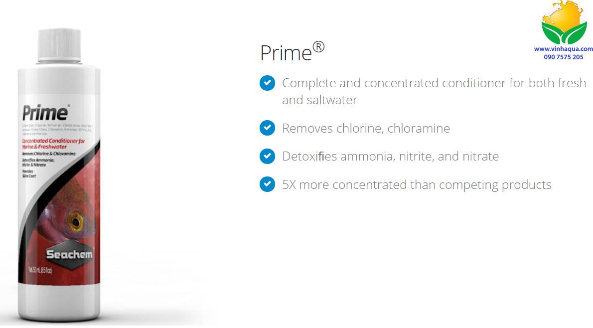 Seachem Prime - khử clo, cloramine cho hồ thủy sinh