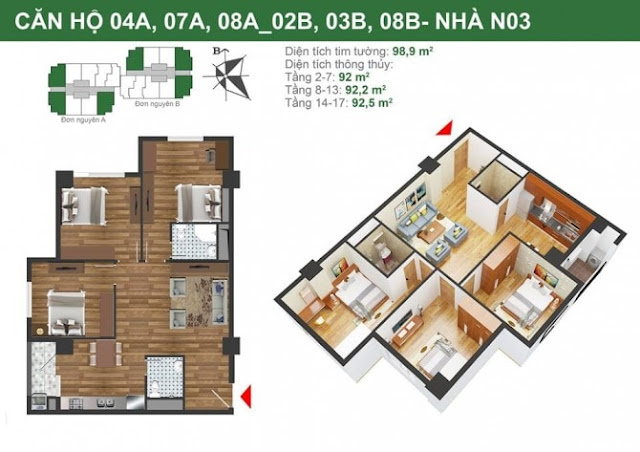 Mặt bằng căn hộ 04A-07A-08A-02B-03B-08B