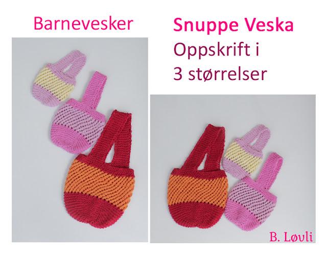 strikkeoppskrift på barnevesker
