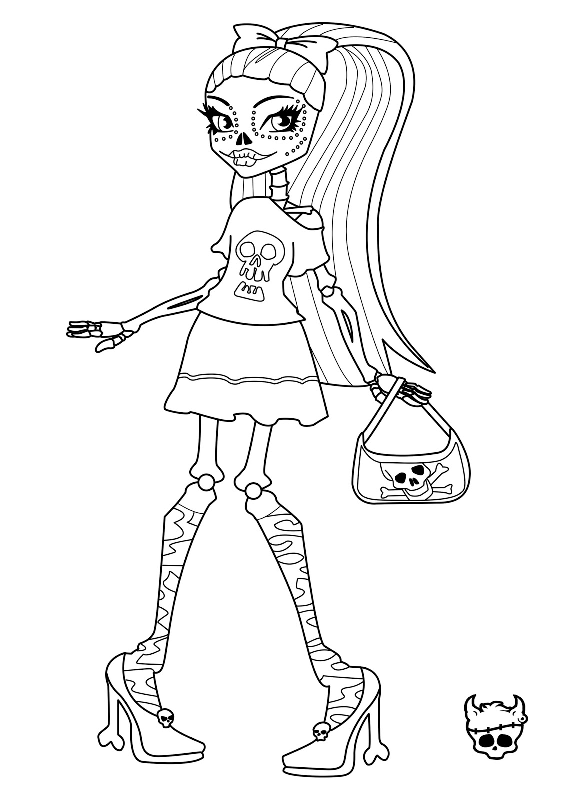 Monster high skelita calaveras coloring page learn to for Monster high free coloring pages