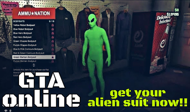 How to get the Green and Purple Alien Martian Bodysuits: GTA online Alien Suit