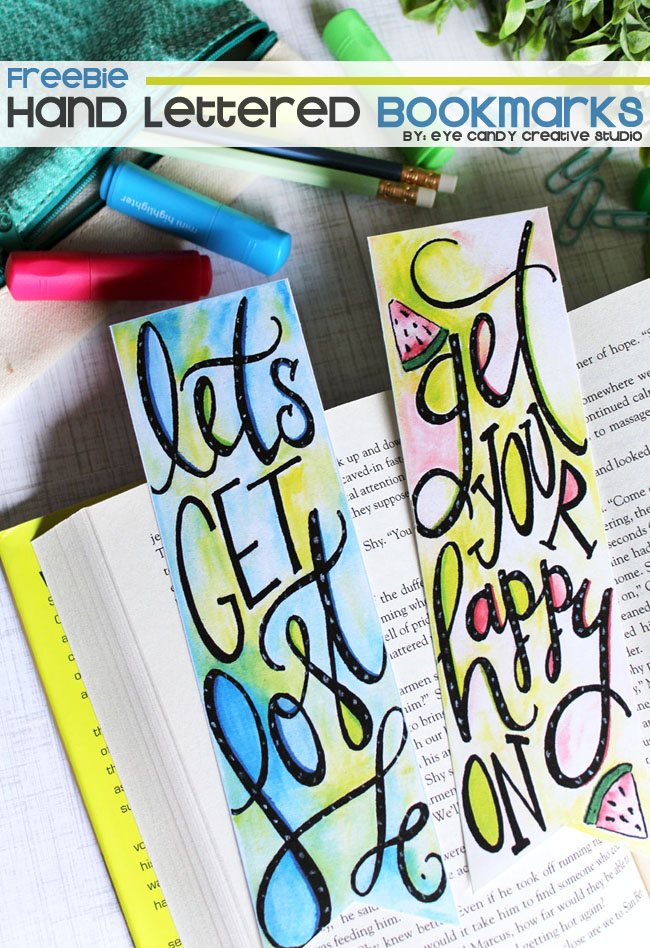 let's get lost, get your happy on, watercolor bookmarks, hand lettering