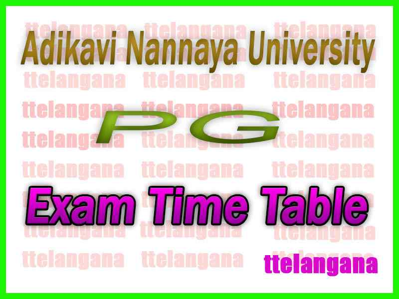 Adikavi Nannaya University AKNU PG Exam Time Table