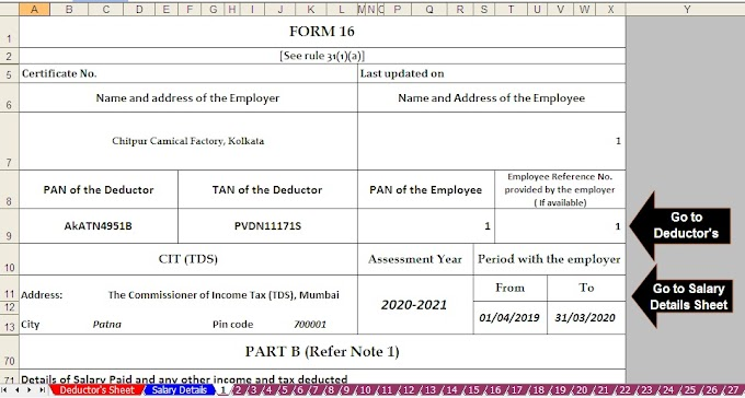 Revised Format of Income Tax Form 16 With Automated Master of Form 16 Part B with Form 12 BA for F.Y. 2019-20