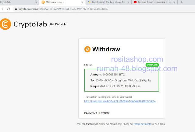 Bukti Payout CryptoBrowser Via Bitcoin