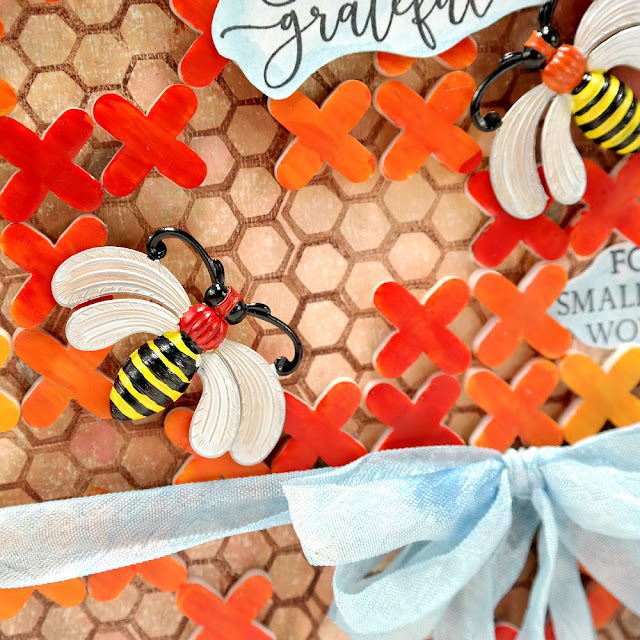 Stamped Mixed Media Bee Canvas with Painted Brass Bees and Rubber Tile Spacers