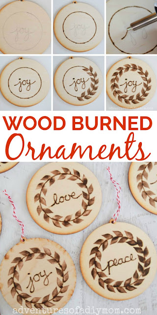 collage of steps of how to make wood burned ornaments