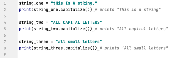 Capitalizing a string in Python