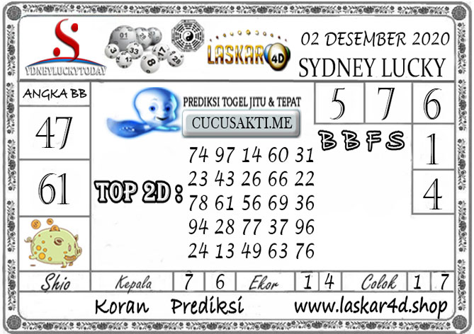 Prediksi Sydney Lucky Today LASKAR4D 02 DESEMBER 2020