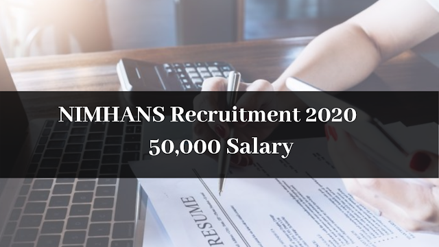 NIMHANS Recruitment 2020 Apply For Junior Scientific Officer & And Other Posts