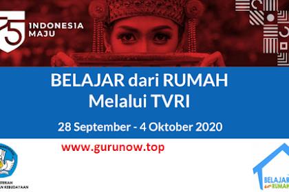 Panduan BDR di TVRI Minggu Ke 25 (28 September – 4 Oktober 2020)