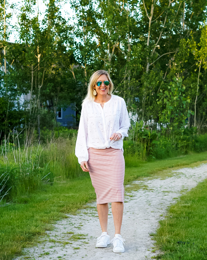 gingham midi skirt how to style