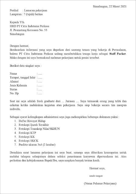 Contoh Application Letter Untuk Staff Packer (Fresh Graduate) Berdasarkan Informasi Dari Seseorang