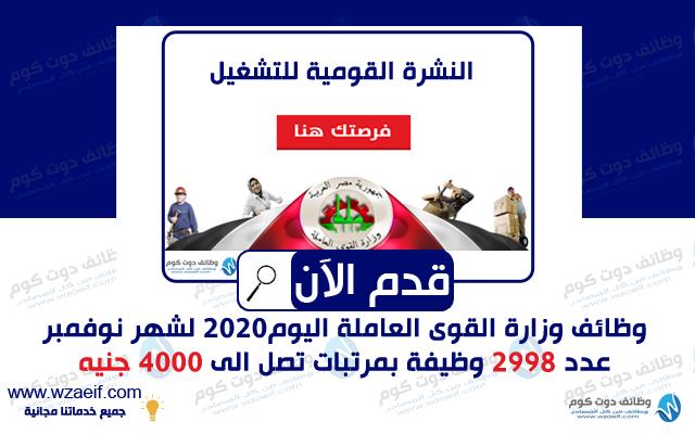 وظائف وزارة القوى العاملة اليوم 2020 وظائف دوت كوم