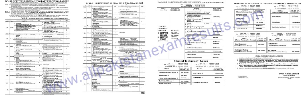 Date Sheet inter Supplementary 2019 Lahore Board
