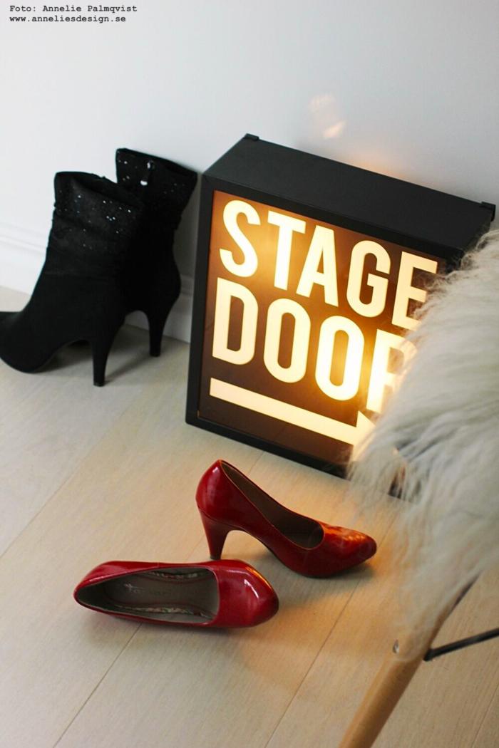 annelies design, webbutik, webshop, nätbutik, ljusskylt, stagedoor, stage, door, lampa, lampor, ljusbox, walk in closet, make up, sminkhörna