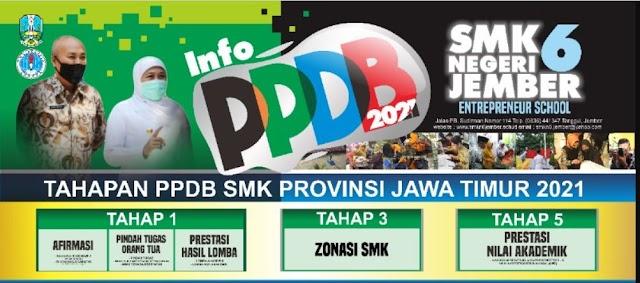 Brosur PPDB SMKN 6 JEMBER Tahun pelajaran 2021/2022