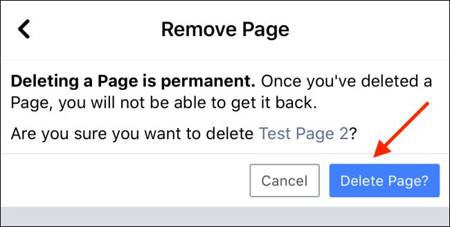 اضغط على زر حذف الصفحة لحذف صفحة الفيسبوك الخاصة بك