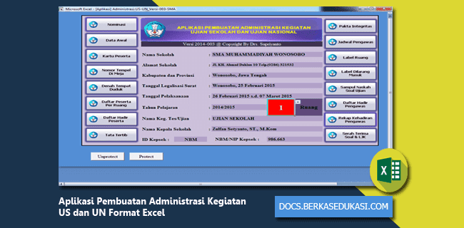 Aplikasi Pembuatan Administrasi Kegiatan US dan UN Format Excel