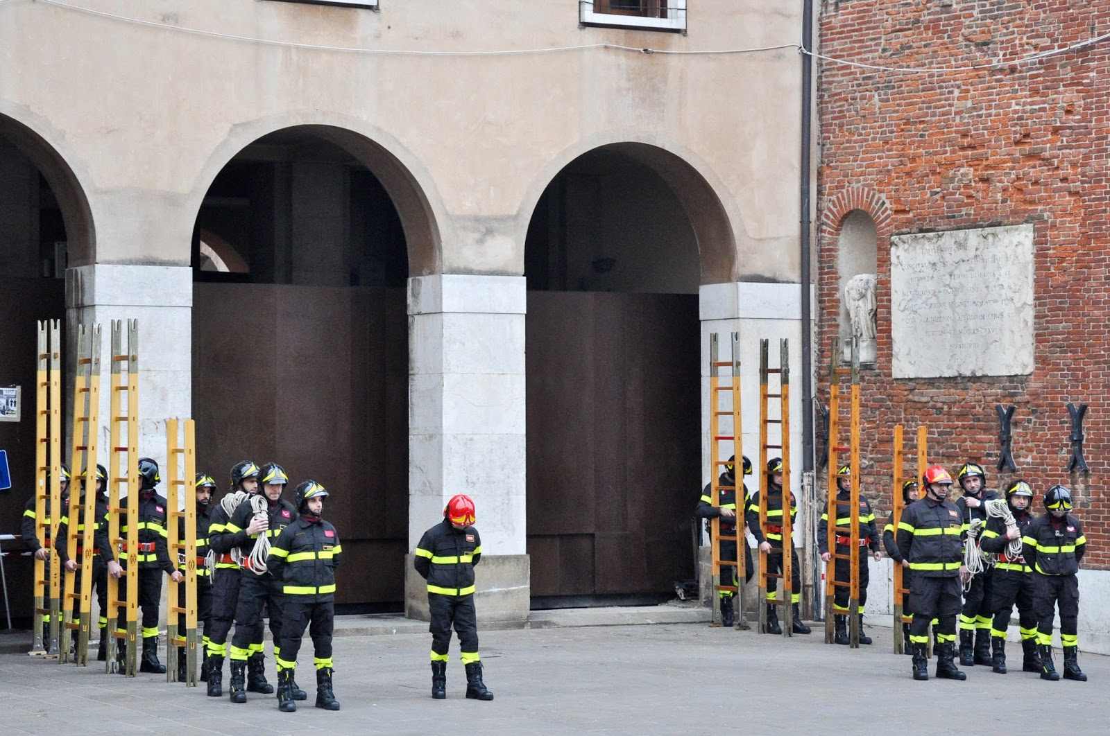 Firefighting demonstration, Piazza dei Signori, Saint Barbara celebration, Vicenza, Veneto, Italy