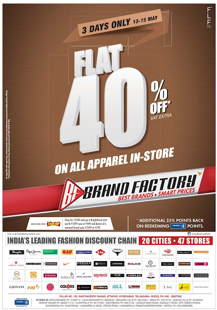 Brand factory flat 40% sale   May 2016 discount offer
