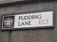 Street sign for Pudding Lane in London