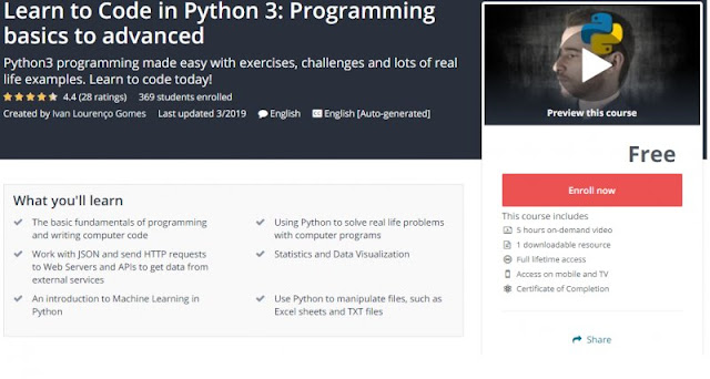 [100% Free] Learn to Code in Python 3: Programming basics to advanced