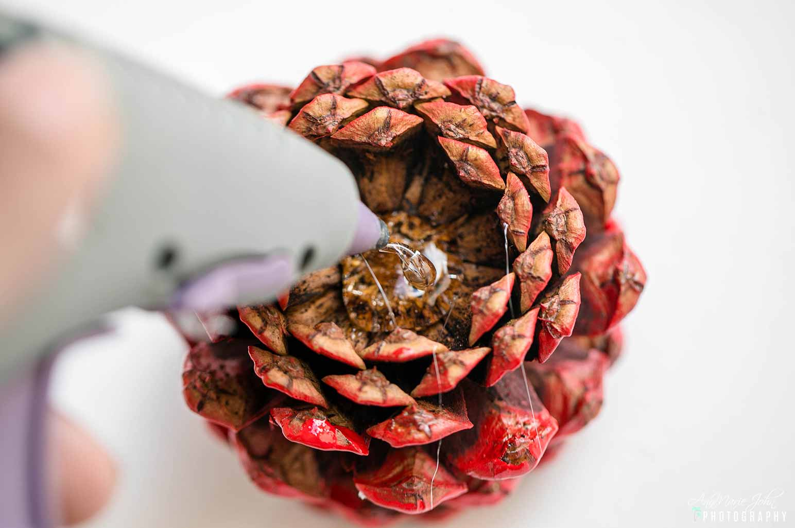 Steps to Making Patriotic Pinecone Flowers