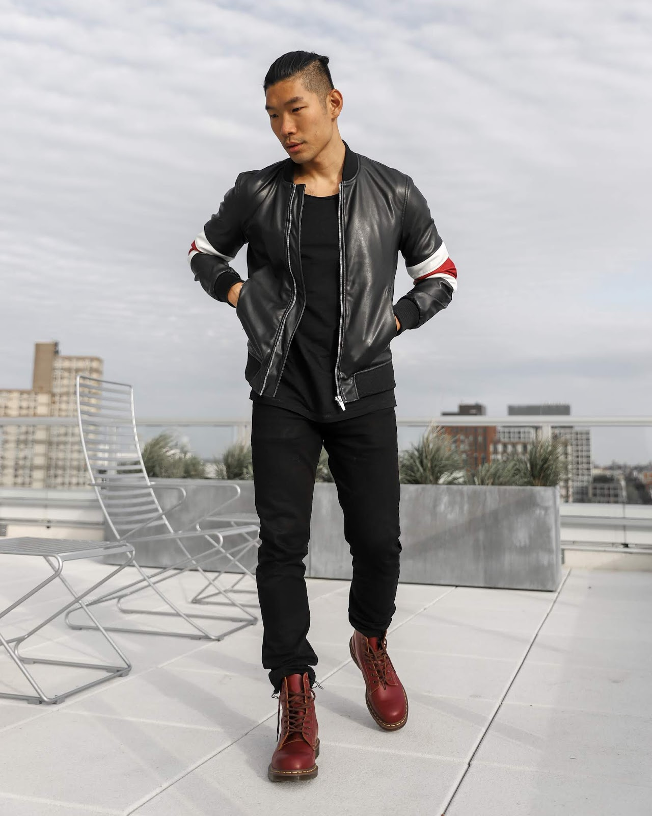 Leo Chan wearing Leather Jacket and Oxblood Dr Marten Combat Boots