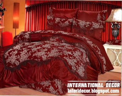 Modern Red Duvet Cover Set Stylish Dark Model