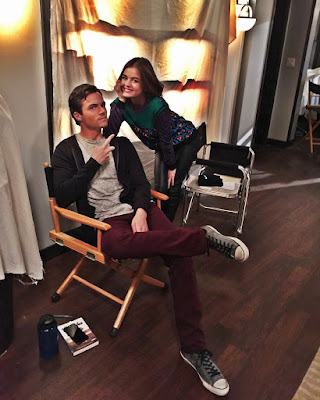 Ezria Lucy Hale and Ian Harding PLL bts filming 7x05 and 7x06