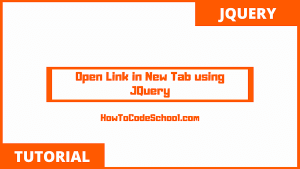 Open Link in New Tab using JQuery