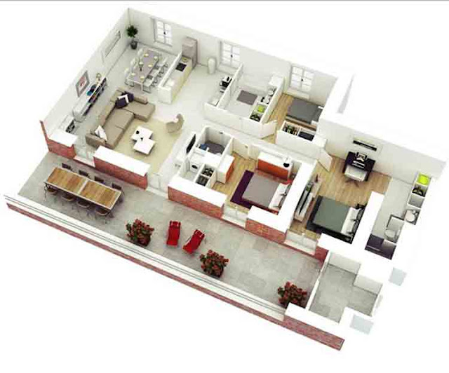 house plans 3 rooms 1st floor
