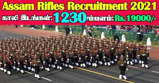 Assam Rifle Recruitment 2021 1230 Vacancies