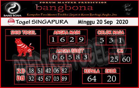Prediksi Bangbona SGP Minggu 20 September 2020
