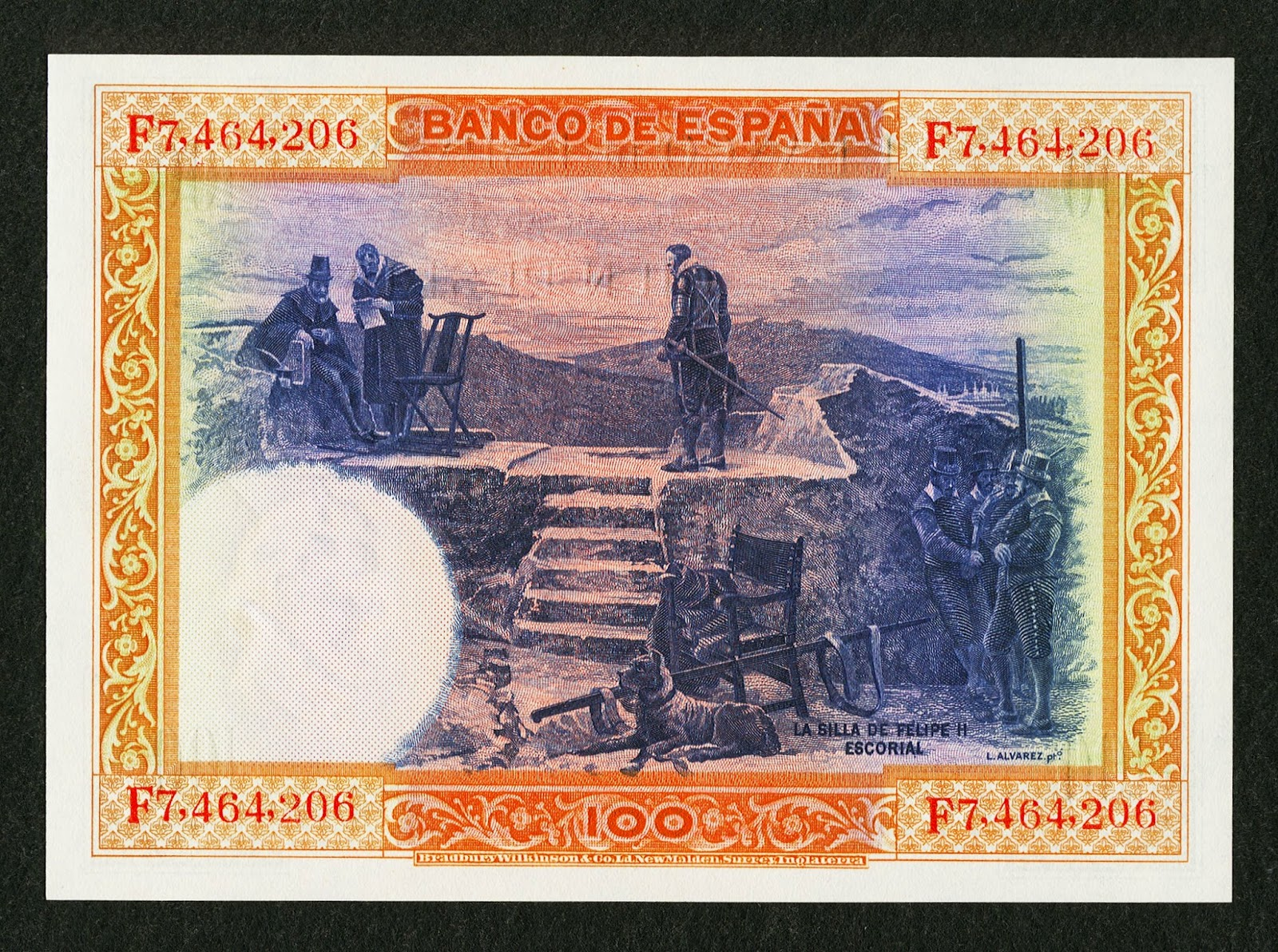 Spain money currency 100 Pesetas banknote 1925 The Chair of Philip II in San Lorenzo de El Escorial