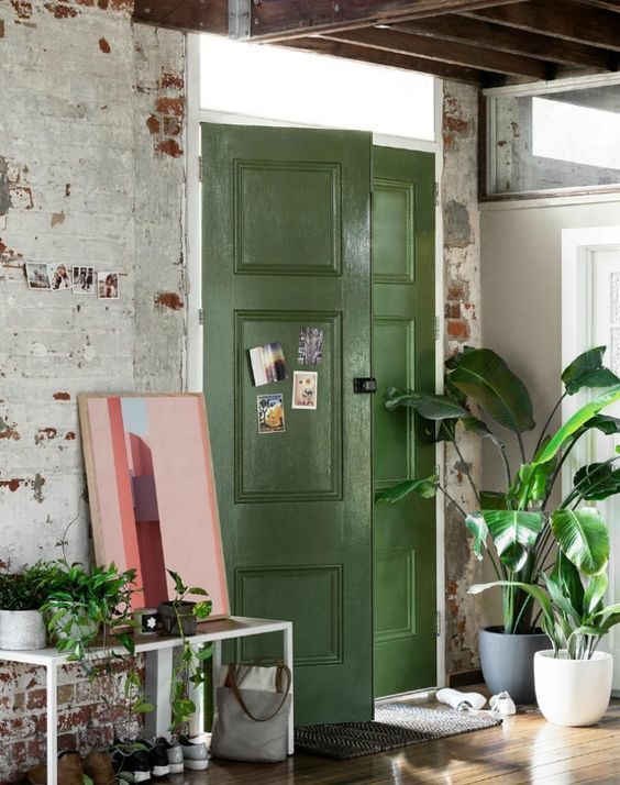 green painted doors