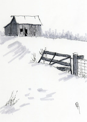 pen sketch art rural winter barn abandoned snow fence