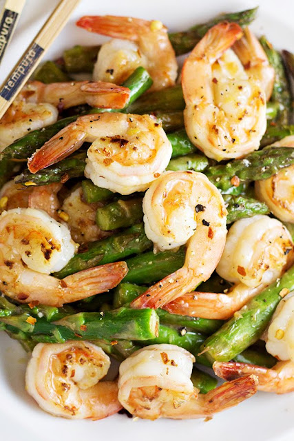 Shrimp and Asparagus Stir Fry with Lemon Sauce | Home Cooking Memories