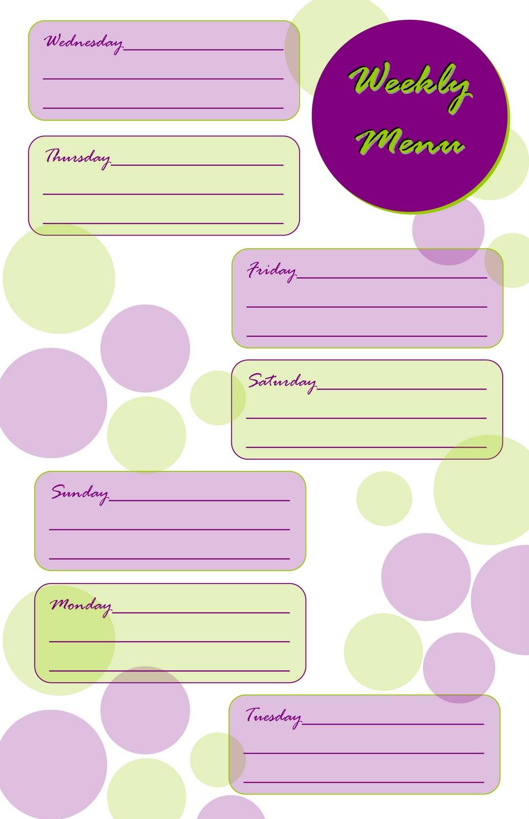 Taking Time To Create Weekly Menu Planner Free Printable