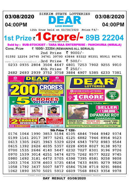 Lottery Sambad Result 03.08.2020 Dear Luck Monday 4:00 pm