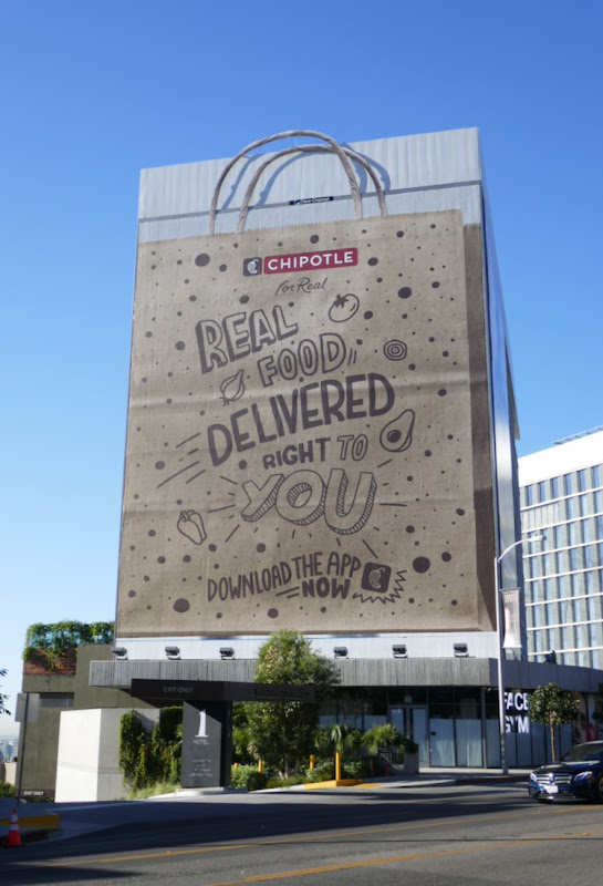 Giant Chipotle paper bag billboard