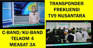 Transponder Frekuensi Channel Siaran TP TV9 Nusantara Telkom 4 C-Band Measat 3a Ku-Band Terbaru Agustus 2020