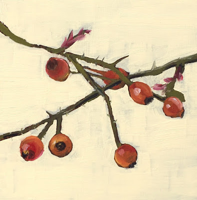 """Rosehips"" Original oil painting by Philine van der Vegte"